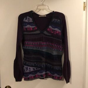 Aldo Martins purple/multi v-neck sweater